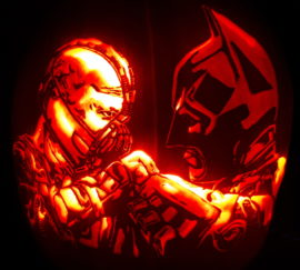 Bane and Batman Fighting Pumpkin